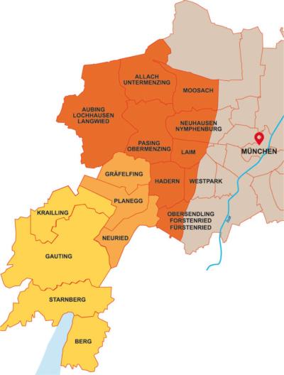 Palliativteam München West - unser Gebiet